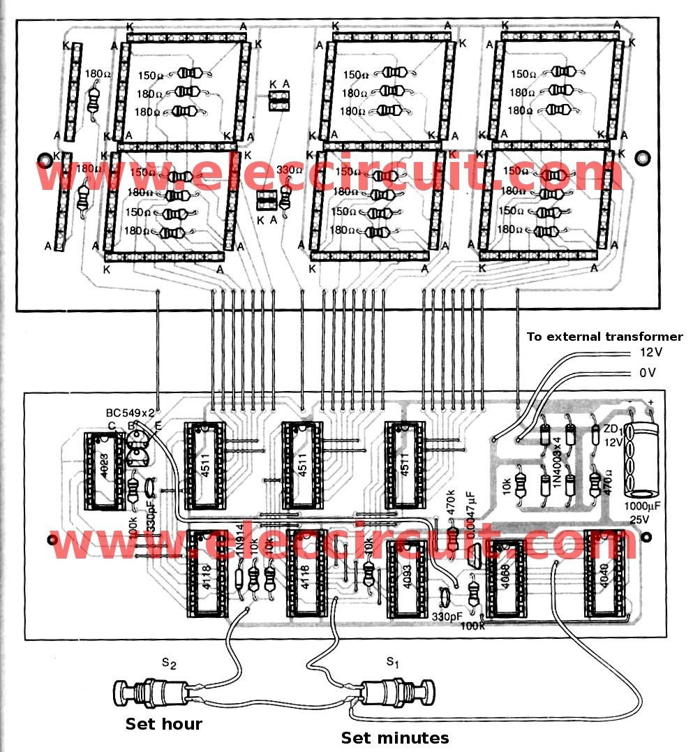 hight resolution of led clock circuit diagram wiring diagrams wni led clock circuit diagram big digital clock circuit without