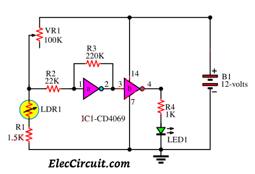 Automatic Night LED light switch circuit using solar