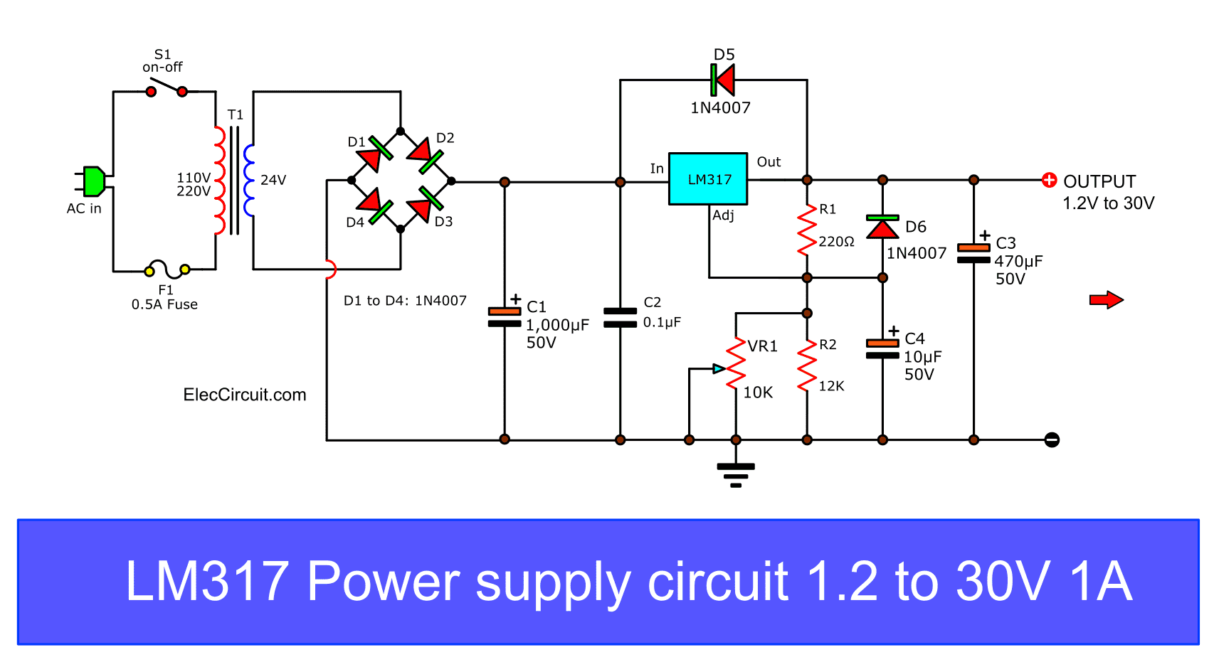 Regulated 5v Dc Power Supply Parameters Using Voltage Regulator Lm7805