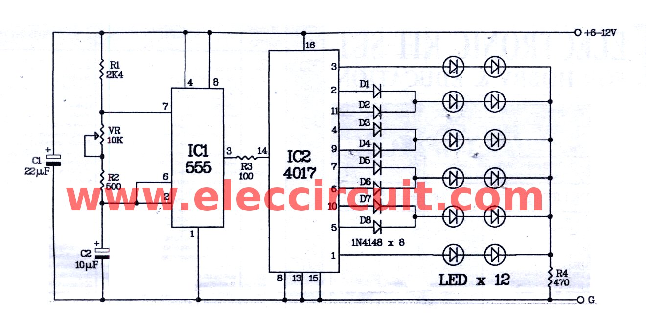 hight resolution of two way 12 led running lights using cd4017 and ne555