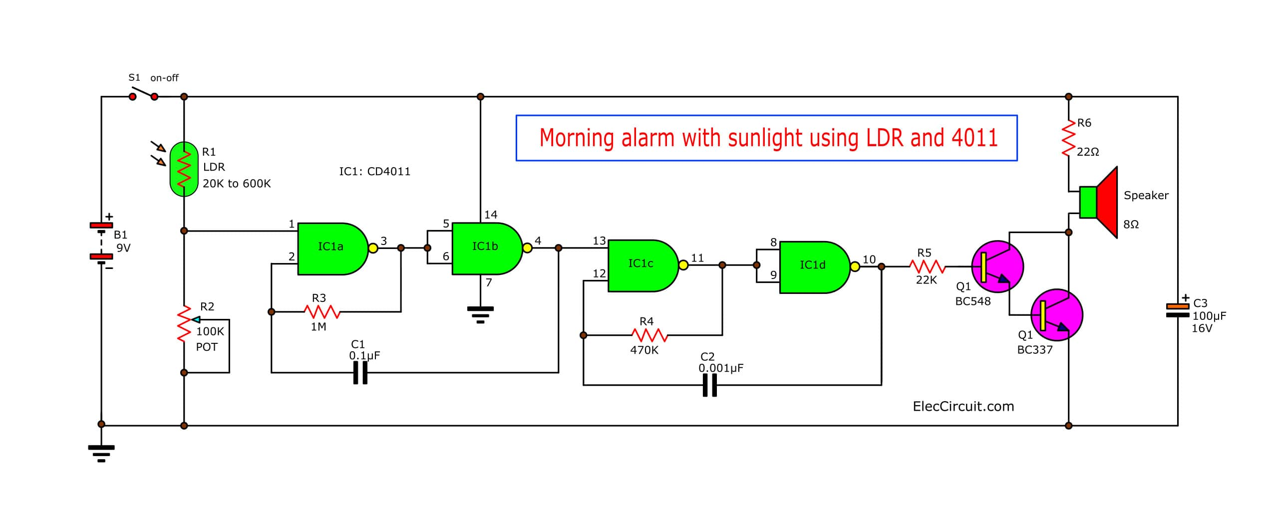 alarm circuit diagram derbi senda 50cc wiring morning sun using ic 4011 eleccircuit