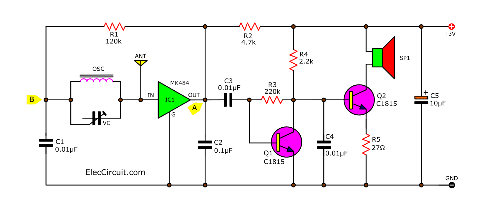 simple am receiver circuit diagram 13 speed transmission radio with earphone eleccircuit of simplify