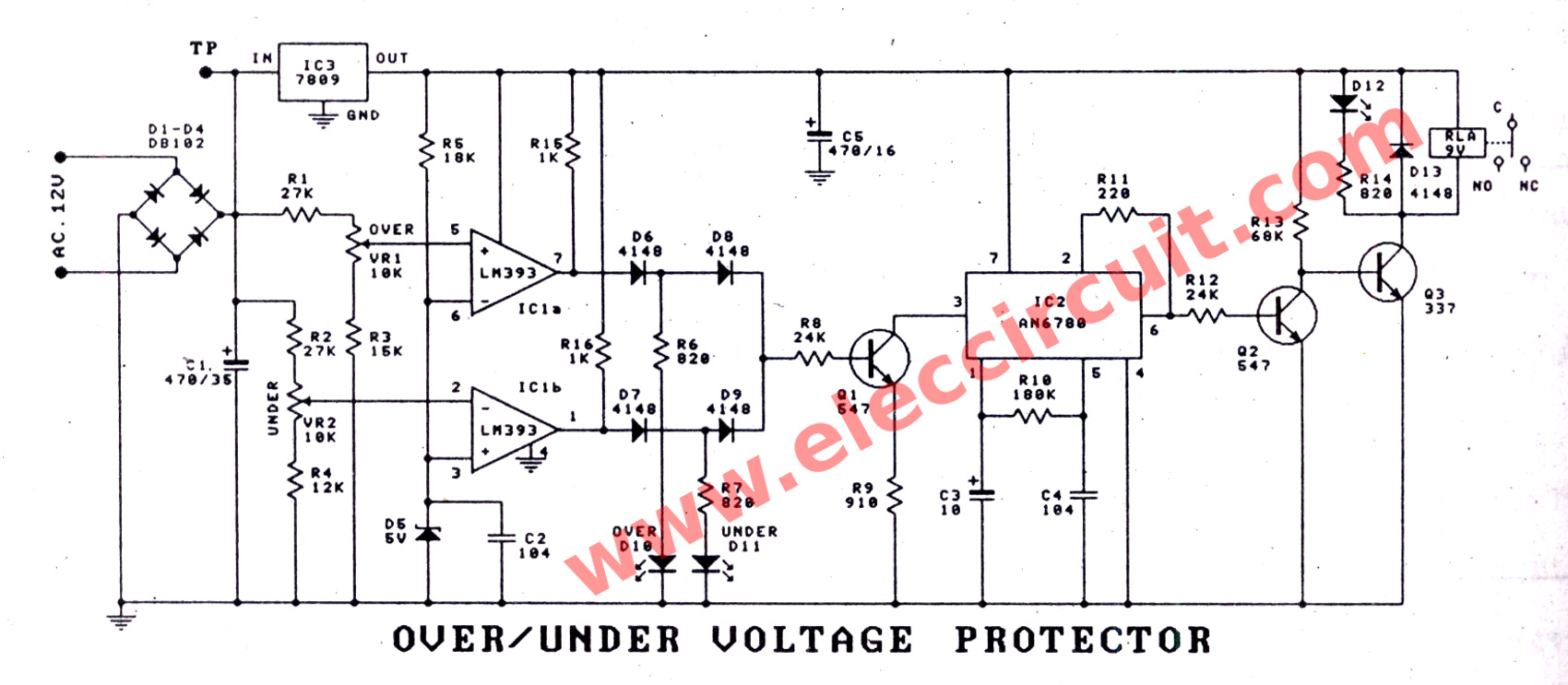High And Low Voltage Cut Off With Time Delay Circuit