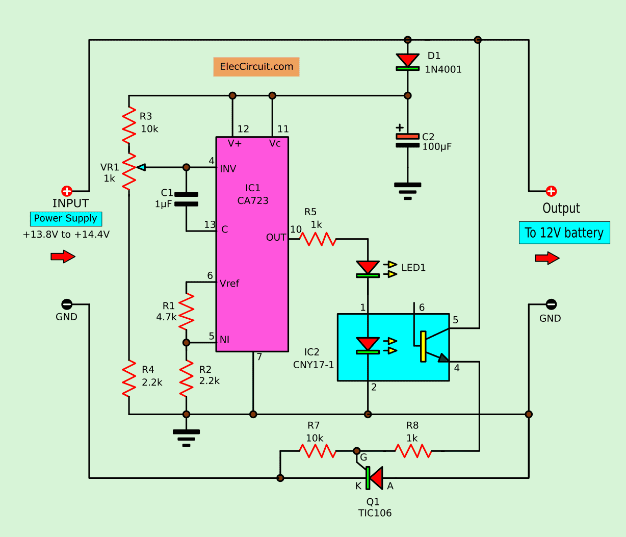 hight resolution of circuit diagram of the automatic battery charger using 723 ic and scr