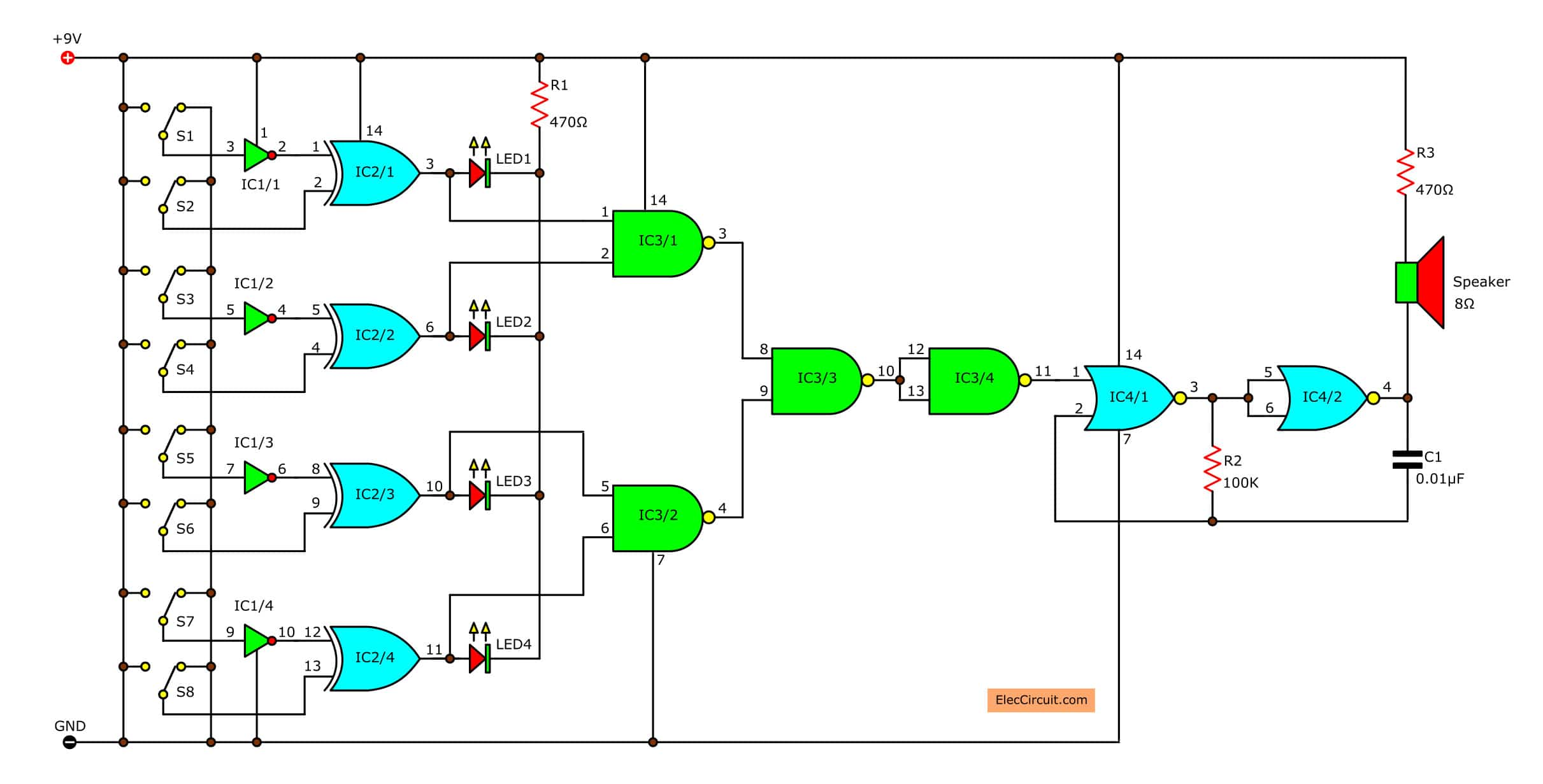 random number generator based game electronic circuits