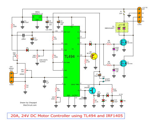 small resolution of 12v 24v pwm motor controller circuit using tl494 and irf1405