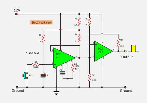 small resolution of simple long duration timer eleccircuit com build a 741 timer circuit diagram electronic circuits diagram