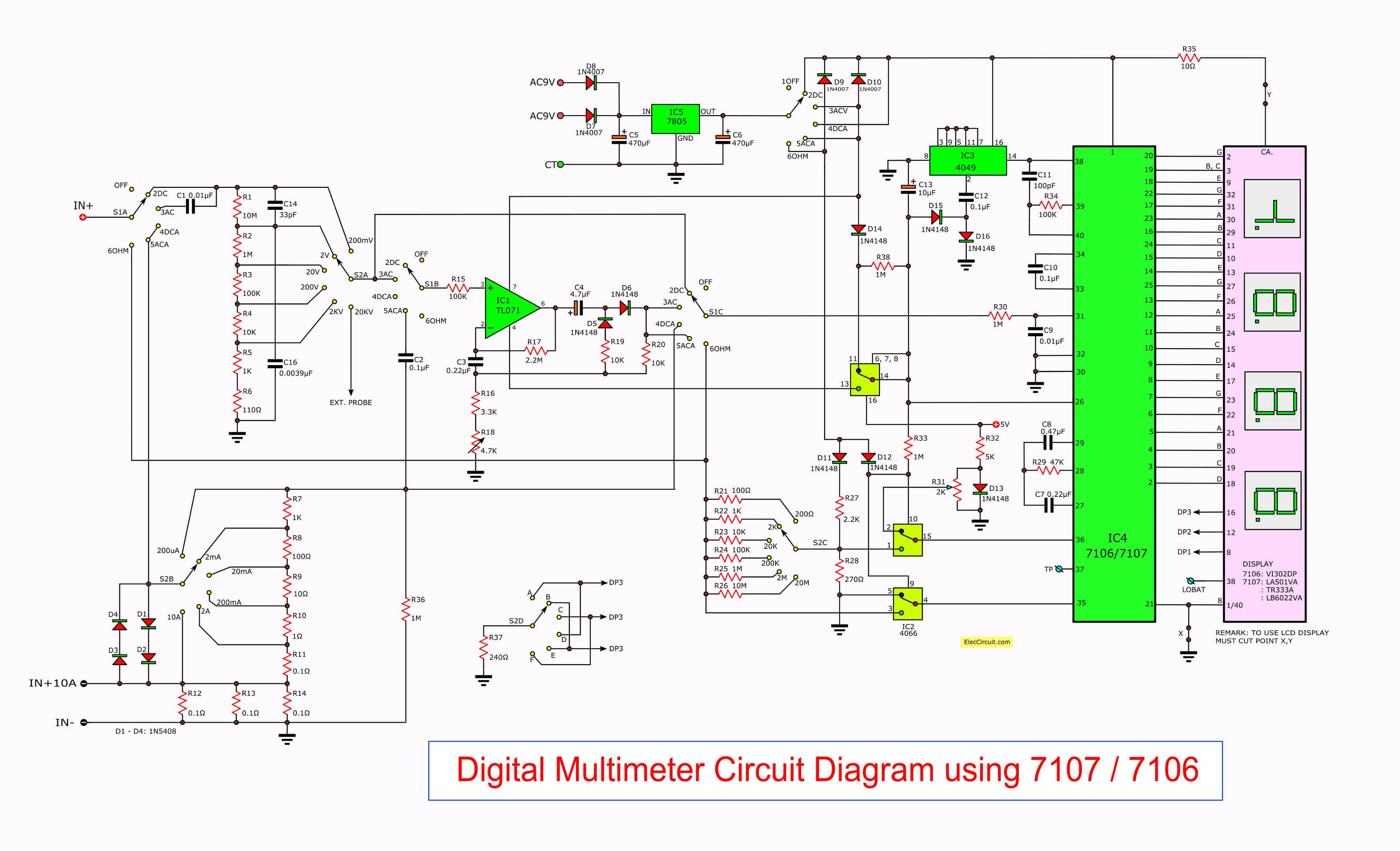 Digital Multimeter Circuit Using Icl