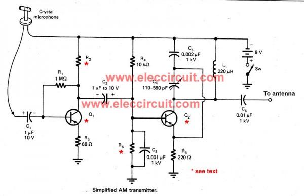simple am receiver circuit diagram ford capri mk3 wiring two transistors transmitter