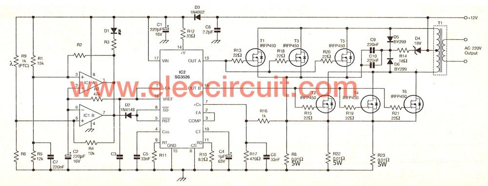1000 Watts Amplifier Circuit Diagrams 12 Volt To 220 Volt Inverter Circuit 500w Eleccircuit Com