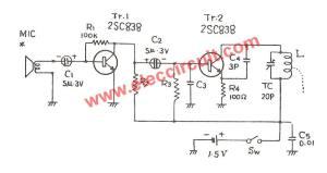 15V FM transmitter circuit, 88108MHz  ElecCircuit