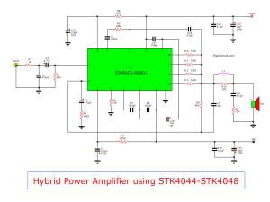 Hybrid power amplifier circuit,100W150W using STK4048