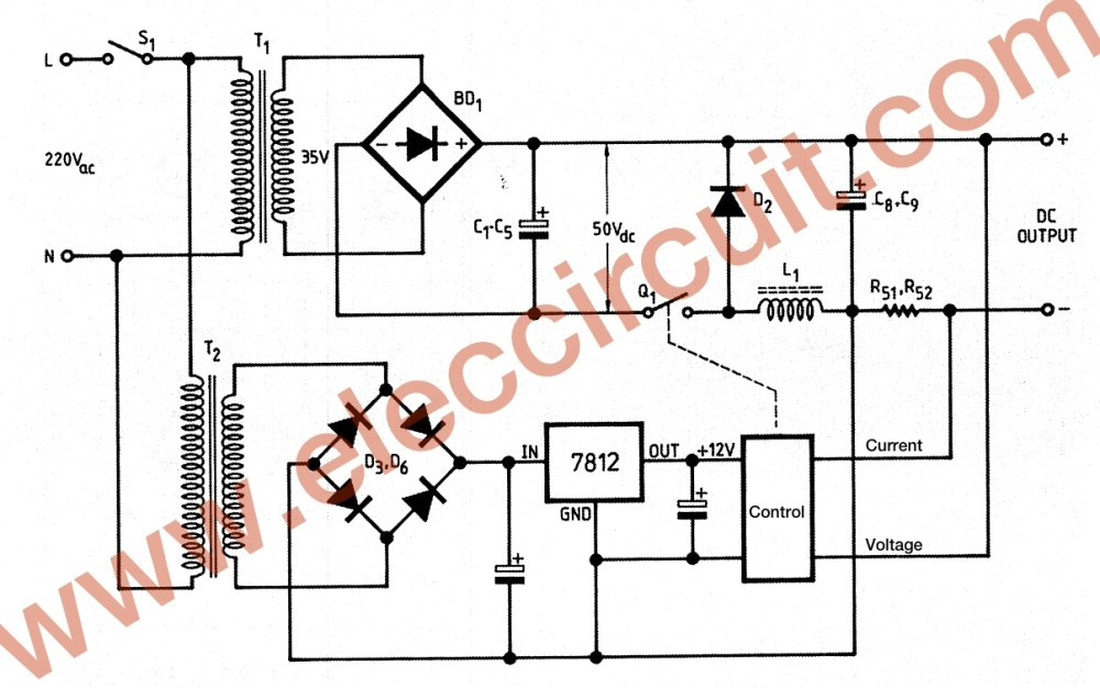 medium resolution of 0 45v 8a dc switching power supply circuit project power supply schematic switching power supply schematic basic circuit