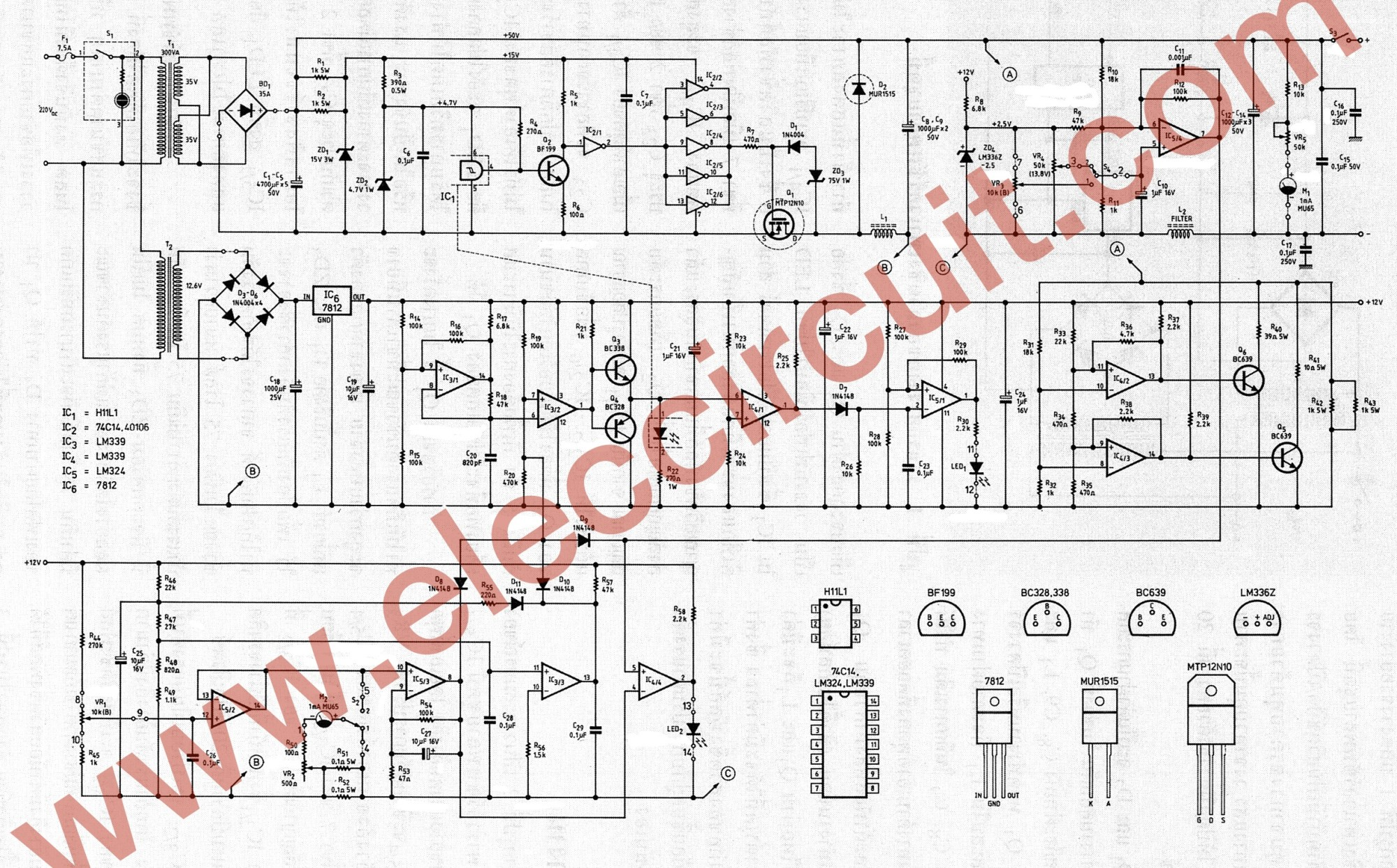 hight resolution of the full circuit diagram of 0 45v 8a switching power supply
