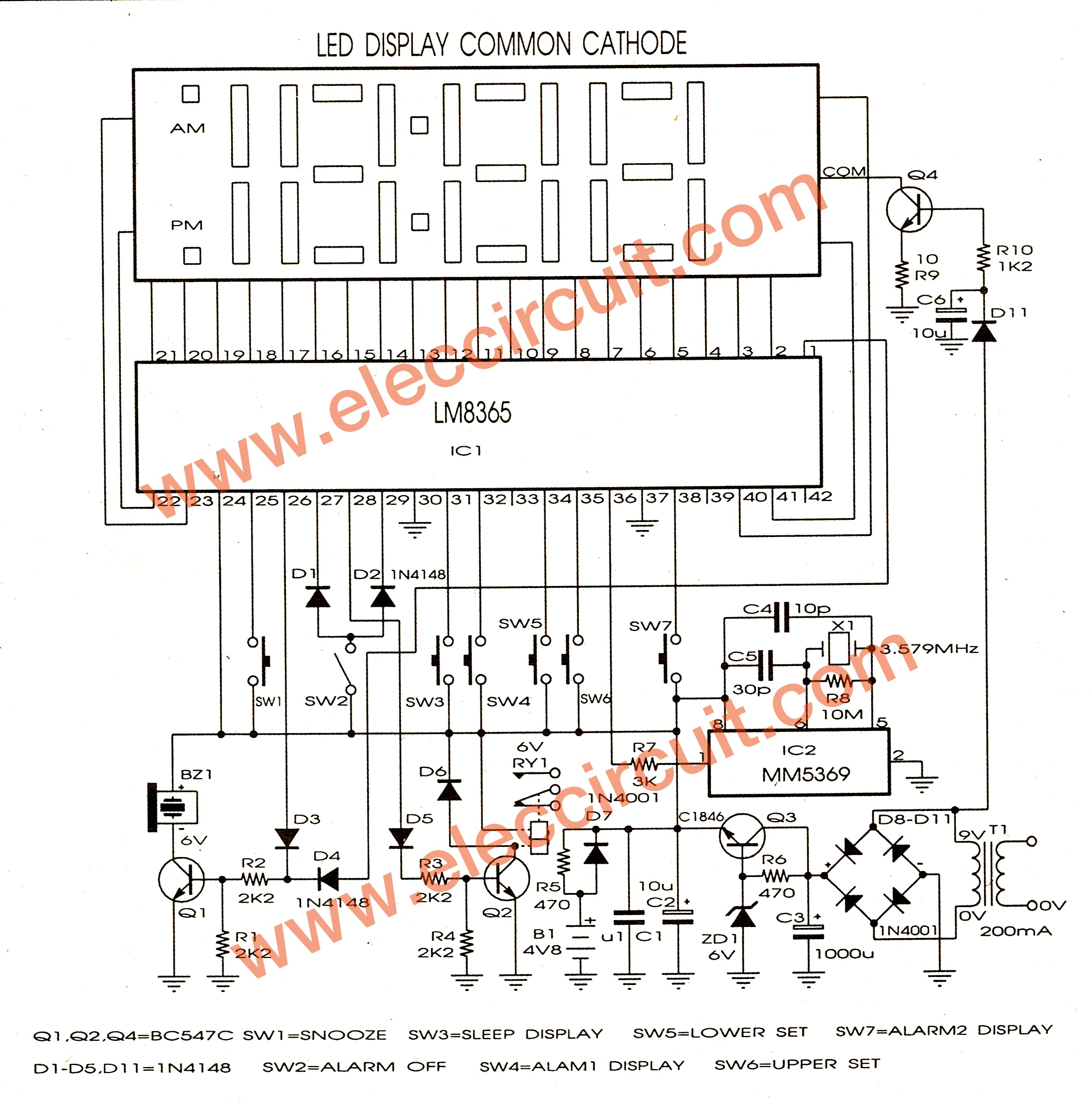 alarm circuit diagram evinrude etec 150 wiring lm8365 digital clock board eleccircuit