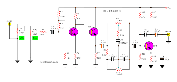 hight resolution of simple tone control circuit projects for electronic bose crossover schematic adjustable active crossover schematic