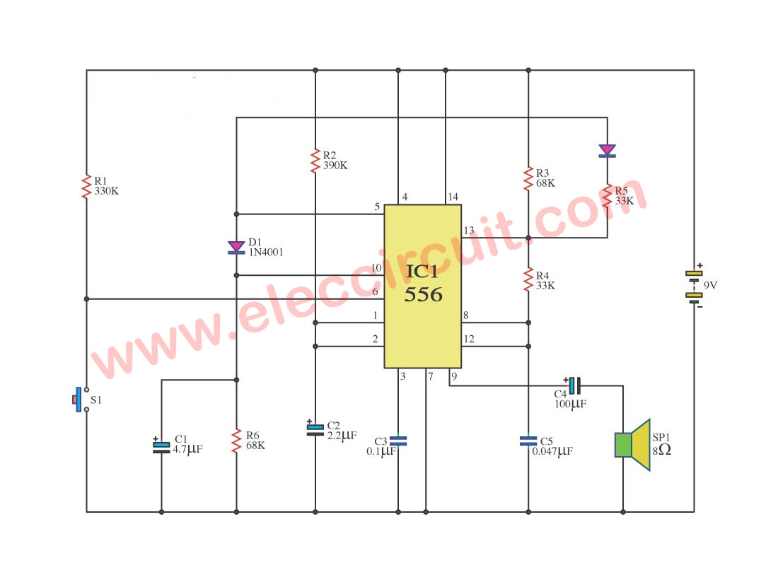 hight resolution of simple train whistle circuit using ne556 eleccircuit com tone model train horn sound generator circuit using 556 ic schematic