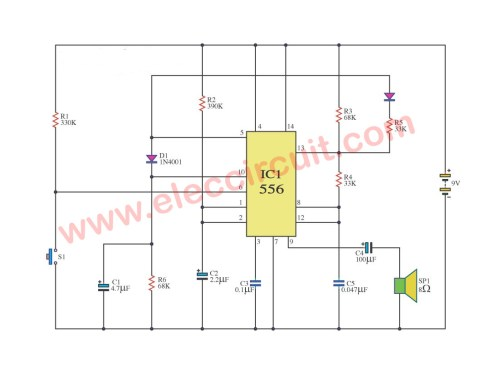 small resolution of simple train whistle circuit using ne556 eleccircuit com tone model train horn sound generator circuit using 556 ic schematic