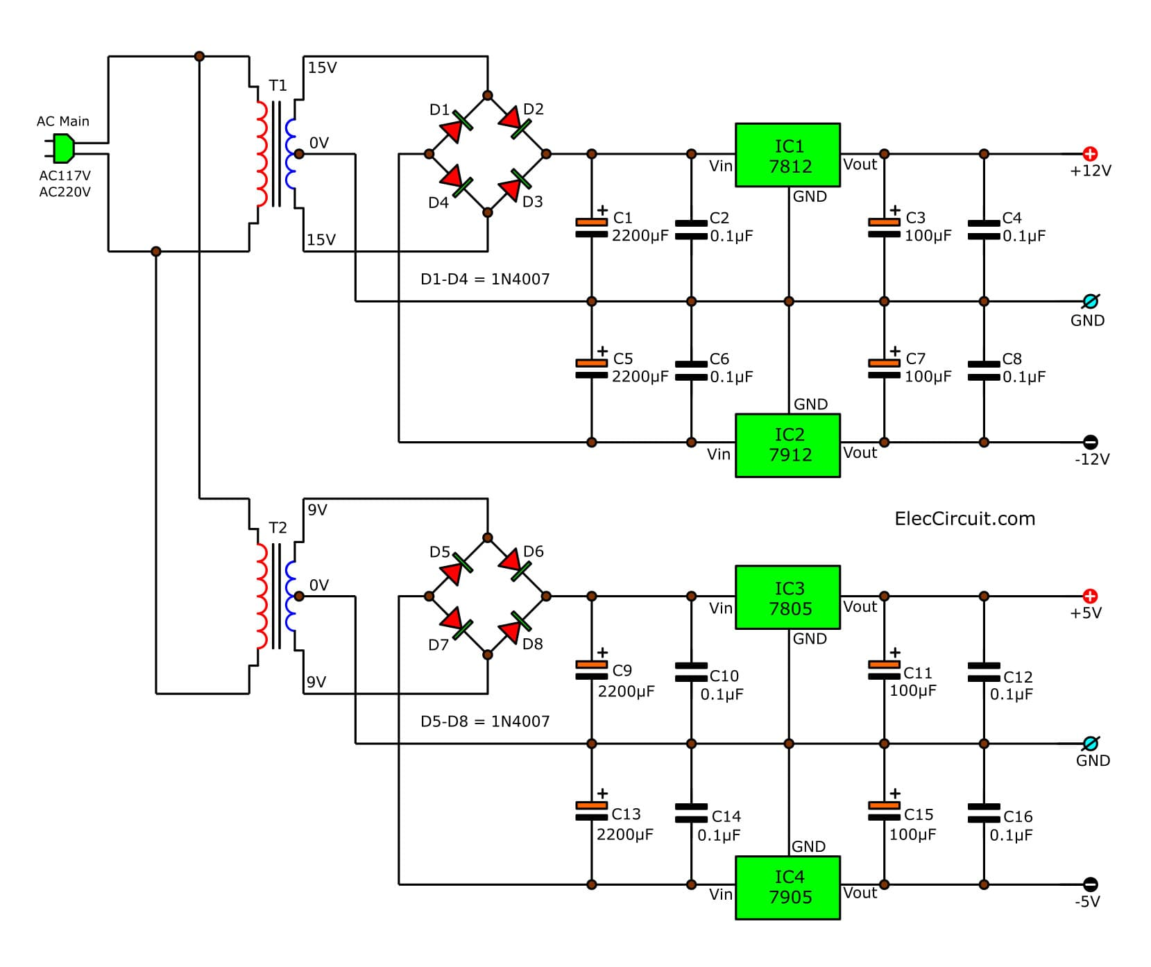hight resolution of multi voltage power supply circuit using ic 78xx series 5v12v and 15v dc converter basiccircuit circuit diagram