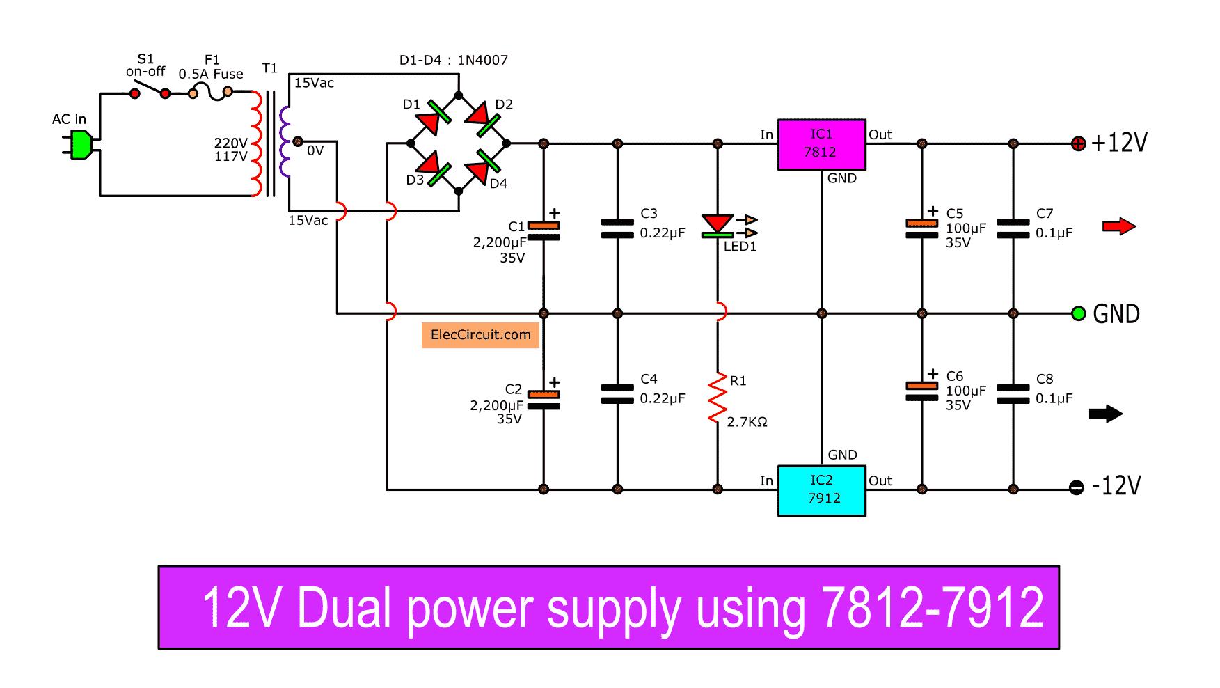 Dual Polarity Power Supply Circuit Diagram The Circuit
