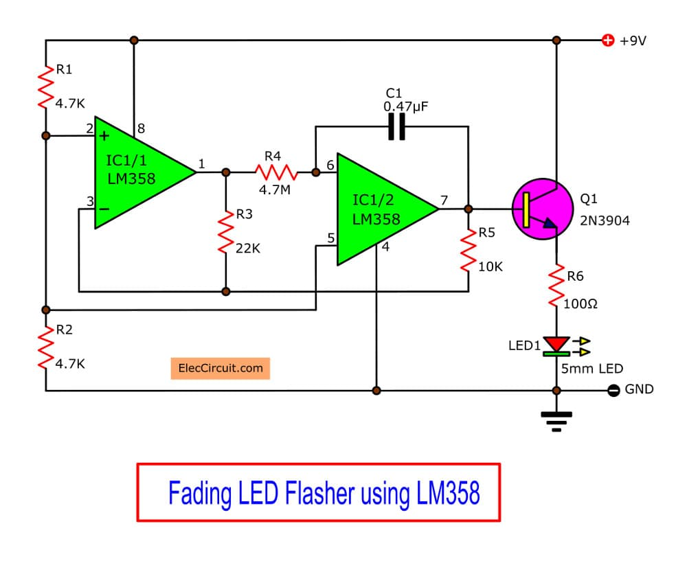 medium resolution of the capacitor and the 4 7m resistor are the timing components the circuit works best when a high brightness led is used