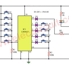 Simple Auto Wiring Diagram Compare And Contrast Mass Weight Venn Key Code Lock Switch Circuit Using Ic-4017 - Eleccircuit.com