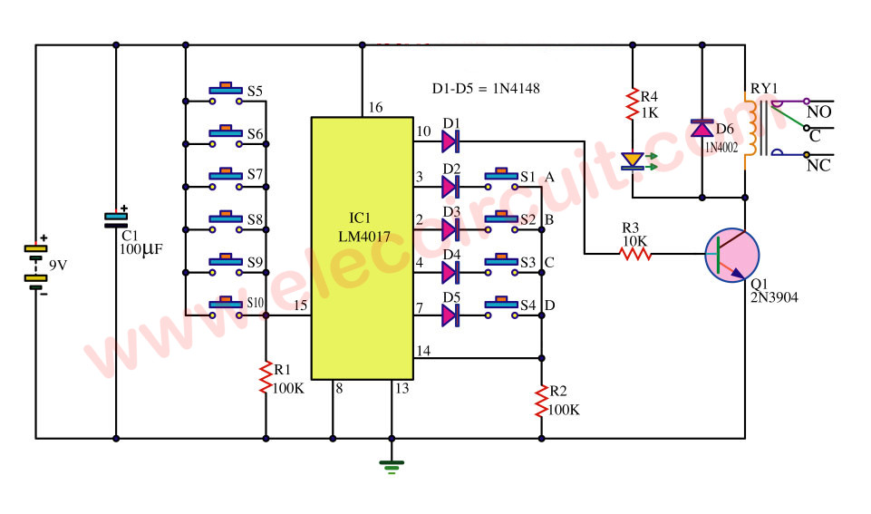 electronic number lock circuit diagram fender strat wiring seymour duncan simple key code switch using ic-4017 - eleccircuit.com