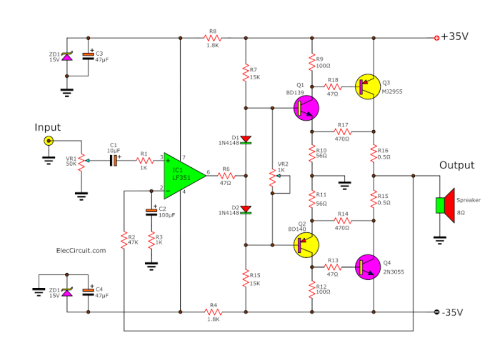 small resolution of then choose this circuit because of building easy to be valuable certainly it is main power amplifier circuit 70w rms in model ocl class ab