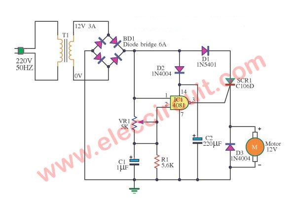 ac motor speed controller circuit diagram kubota alternator wiring scr dc control using ic-cmos