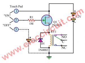 Touch Switch using UJT 2N3819