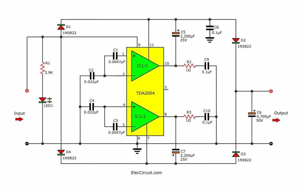 medium resolution of simple 12v to 24v step up converter circuit using tda2004 eleccircuit build a 12v to 24v dcdc converter circuit diagram electronic