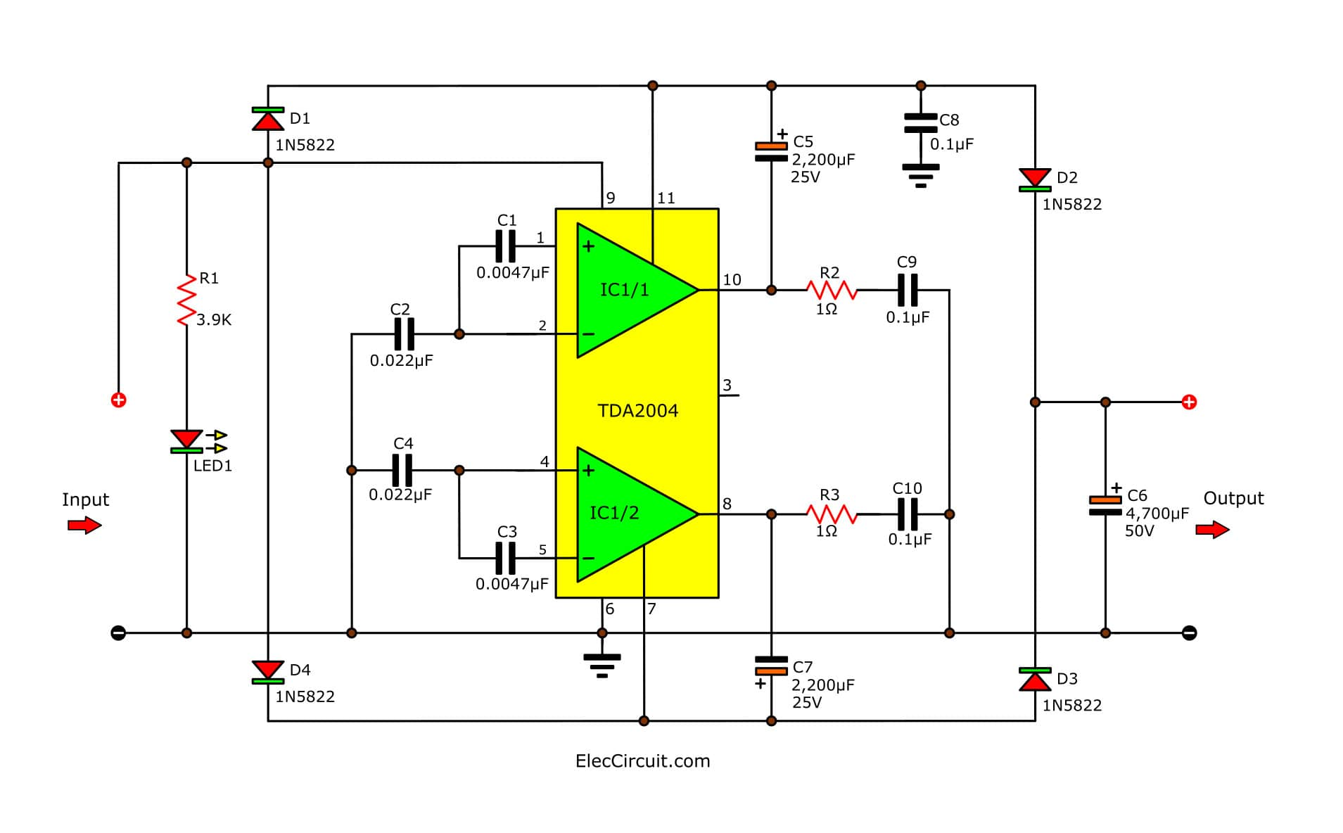 hight resolution of simple 12v to 24v step up converter circuit using tda2004 eleccircuit build a 12v to 24v dcdc converter circuit diagram electronic