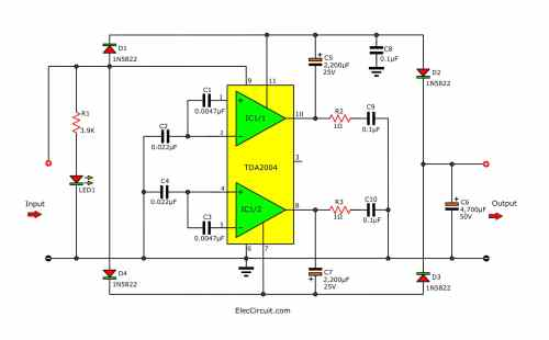 small resolution of simple 12v to 24v step up converter circuit using tda2004 eleccircuit build a 12v to 24v dcdc converter circuit diagram electronic