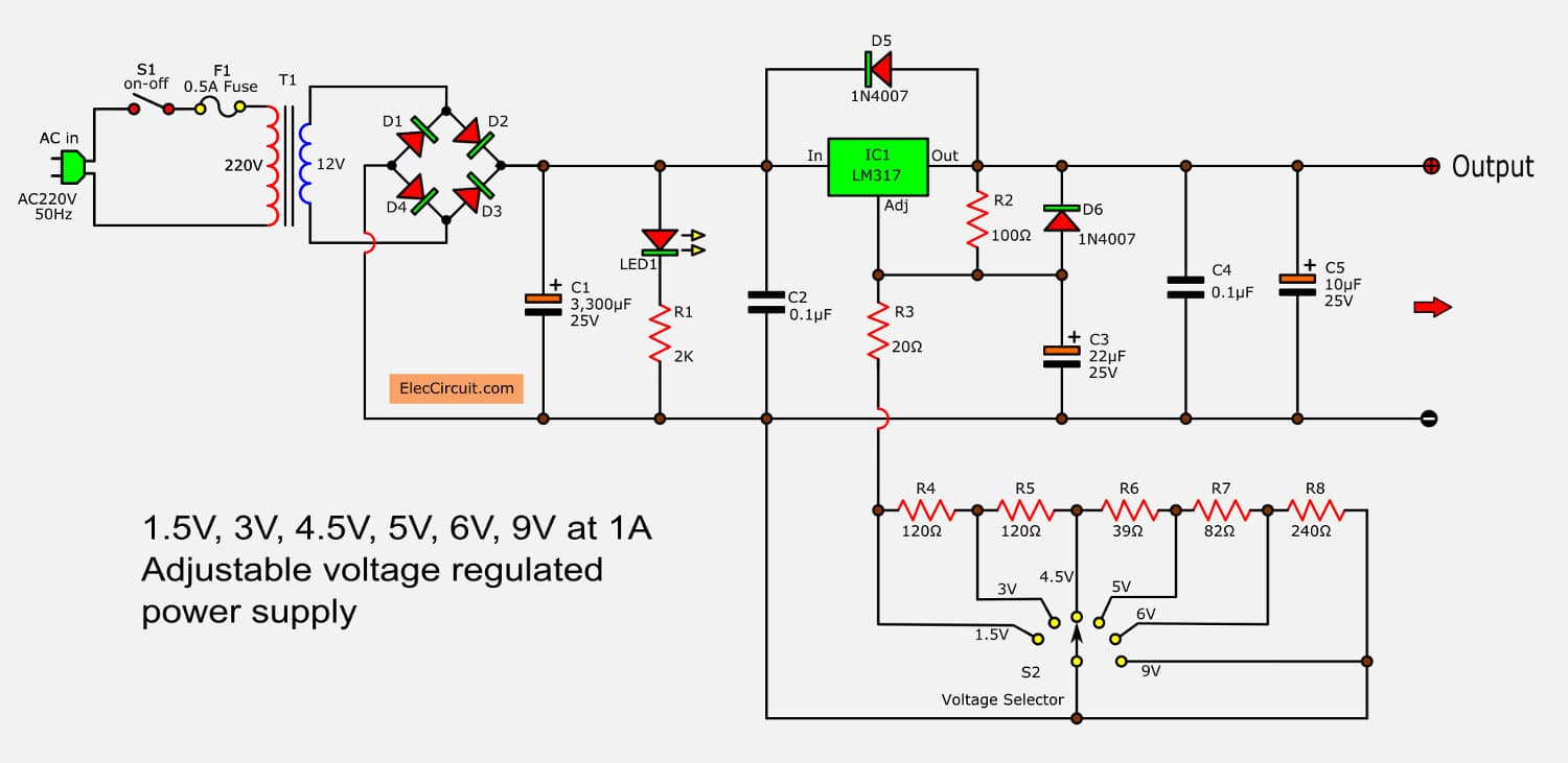 hight resolution of lm317 voltage selector power supply 1 5v 3v 4 5v 5v 6v 9v 3a switching power supply regulator circuit diagram