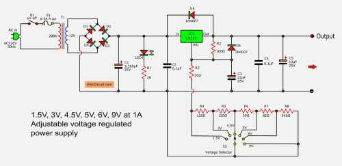small resolution of lm317 voltage selector power supply 1 5v 3v 4 5v 5v 6v 9v 3a switching power supply regulator circuit diagram
