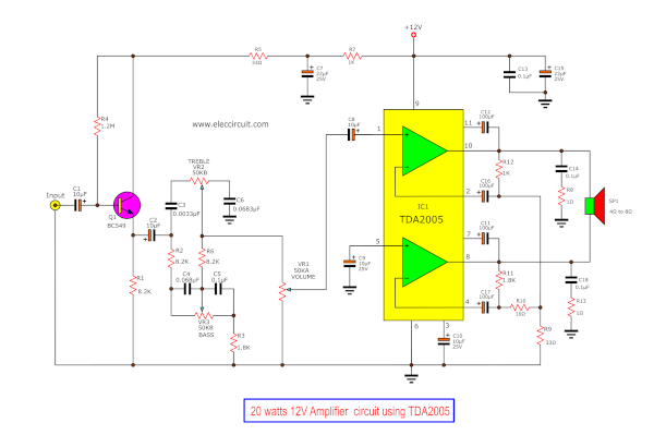 medium resolution of tda2005 tda2004 amplifier circuit diagram