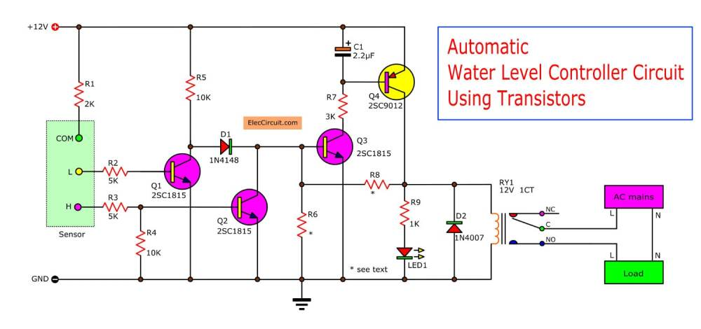 medium resolution of  without water on a bucket both transistor q1 and q2 will not works because the base of both transistors not triggered from the common point