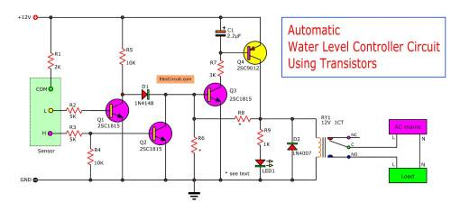 small resolution of  without water on a bucket both transistor q1 and q2 will not works because the base of both transistors not triggered from the common point