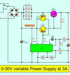 0 30v 3a adjustable dc supply the 0 30v variable power supply circuit diagram [ 2047 x 1228 Pixel ]