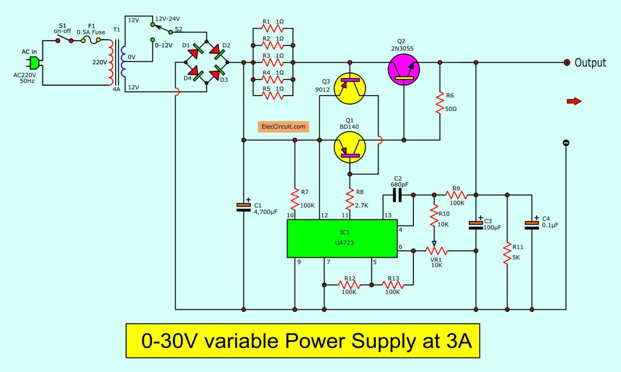 hight resolution of 0 30v 3a adjustable dc supply the 0 30v variable power supply circuit diagram