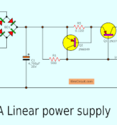 simple designing 12v 5a linear power supply eleccircuit com 12v 5a dc power supply circuit diagram [ 1864 x 824 Pixel ]