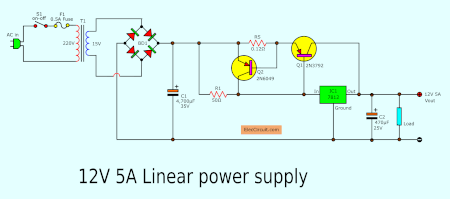 medium resolution of simple designing 12v 5a linear power supply eleccircuit com 12v 5a dc power supply circuit diagram