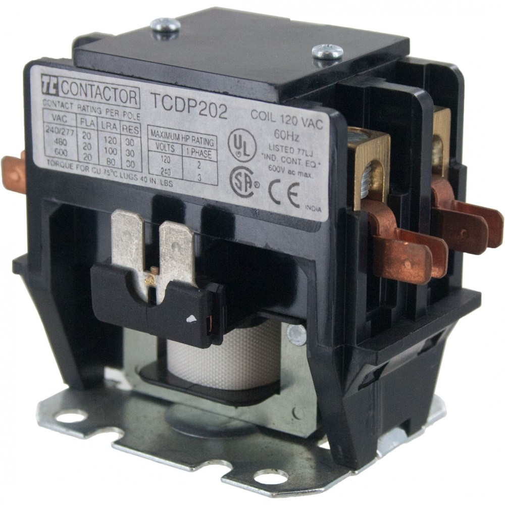 medium resolution of 2 pole contactor 20 amp 240vac coil elecdirect 220 volt 2 pole contactor wiring