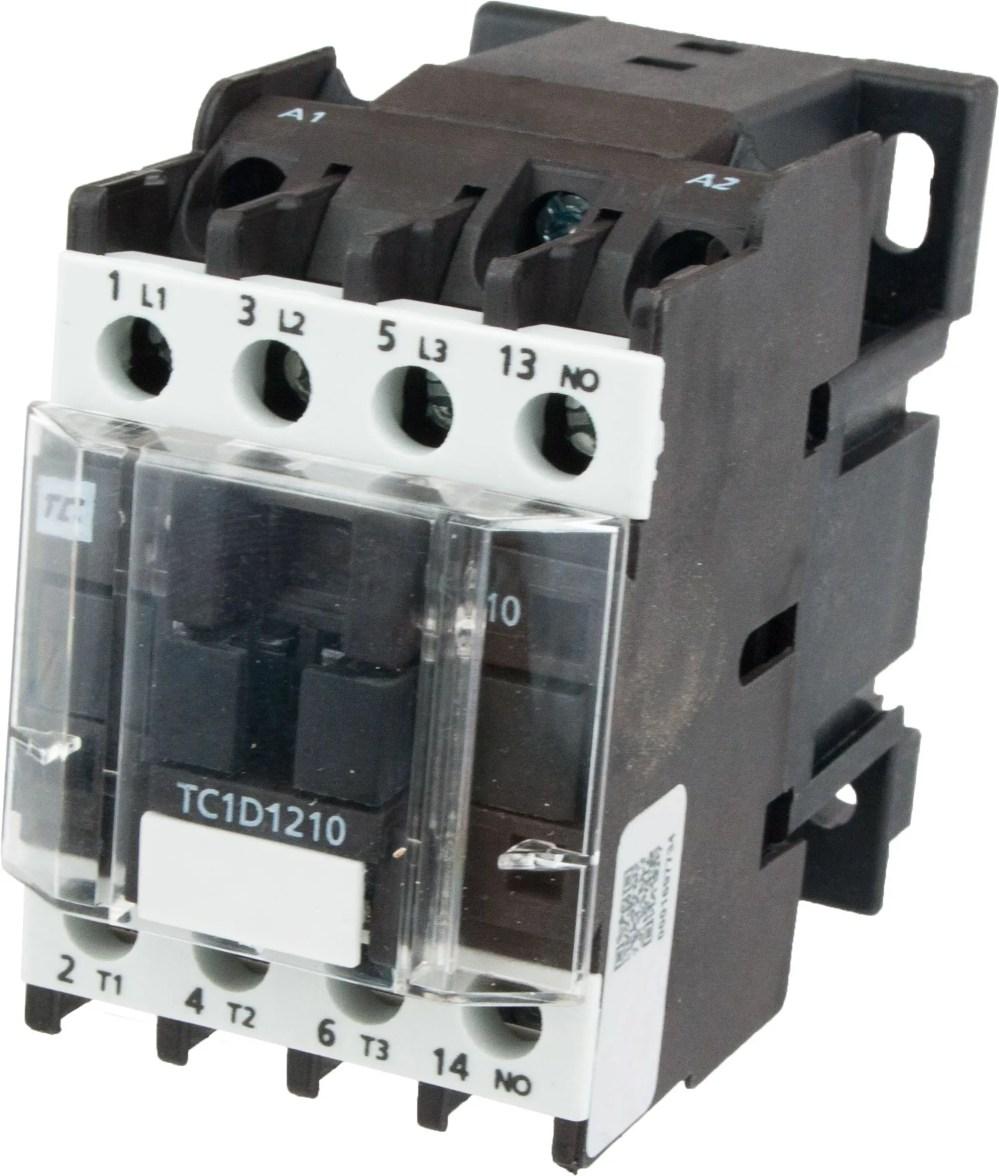 medium resolution of 3 pole contactor 12 amp 1 n o 208 vac coil tc1d1210l6 elecdirect