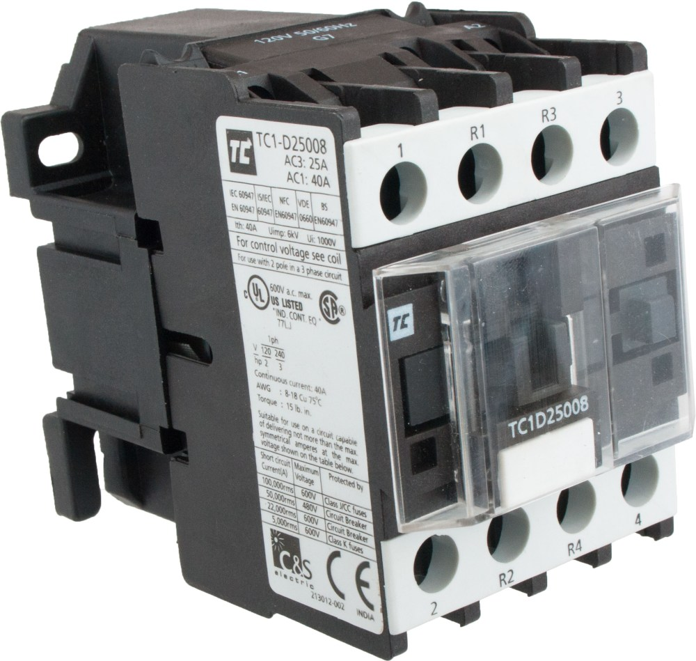 medium resolution of 4 pole contactor 25 amp 2 n o 2 n c 120 volt