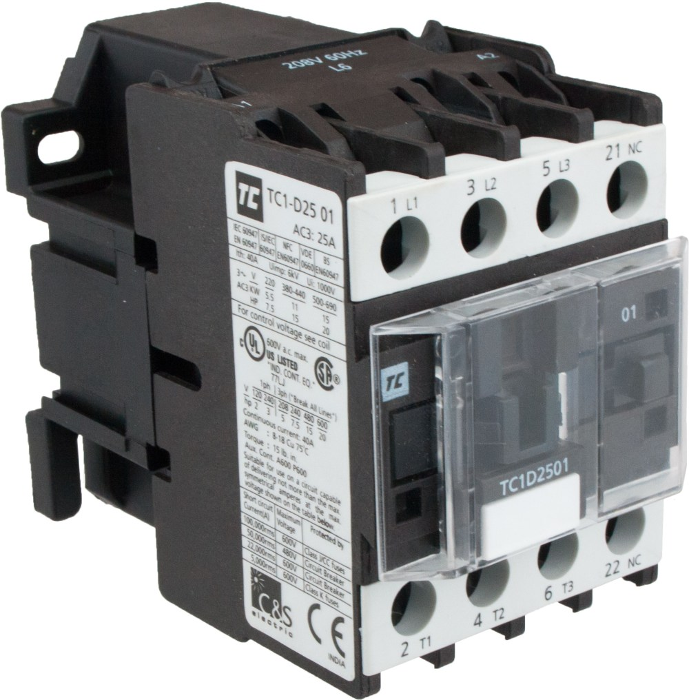 medium resolution of 3 pole contactor 25 amp 440 volt ac coil tc1d2501r7 elecdirect single phase motor reversing contactor wiring 220 3 phase contactor wiring