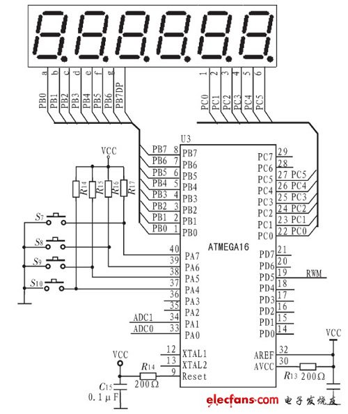 ATMEGA16 microcontroller keyboard and display circuit