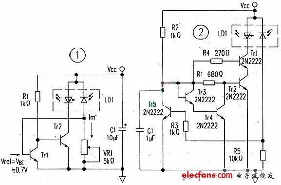One laser diode constant power drive circuit can be used