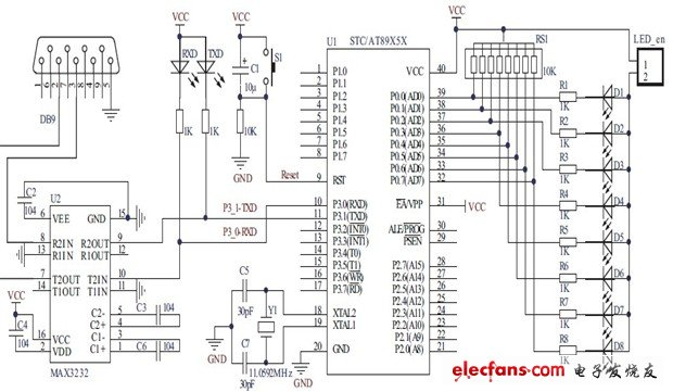 Serial communication experiment circuit diagram AT89