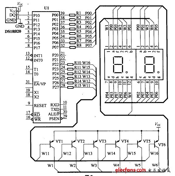 Microcontroller-based thermometer circuit schematics